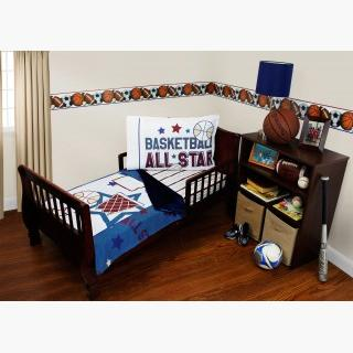 Basketball Toddler Bedding Set - 3pc All Star Sports Blanket and Fitted Sheet