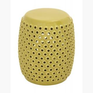 Benzara 57556 Attractively Patterned Ceramic Yellow Foot Stool