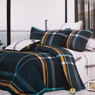Blancho Bedding - [Blue Devils] 100% Cotton 4PC Comforter Cover/Duvet Cover Combo (King Size)