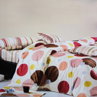 Blancho Bedding - [Colorful Bubbles] 100% Cotton 4PC Comforter Cover/Duvet Cover Combo (Queen Size)