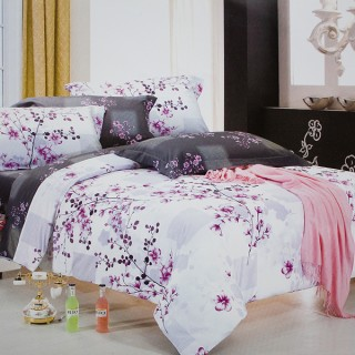 Blancho Bedding - [Plum in Snow] 100% Cotton 4PC Comforter Cover/Duvet Cover Combo (Queen Size)