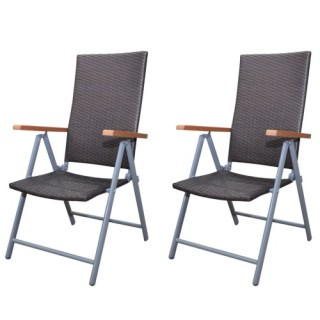 Brown Poly Rattan Garden Furniture Chair Set 2 pcs Aluminium Frame