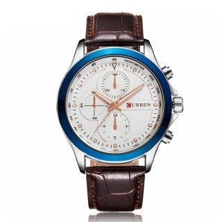 CURREN 8138 Men's Dual Display Watch with Leather Band 3 Sub-dials