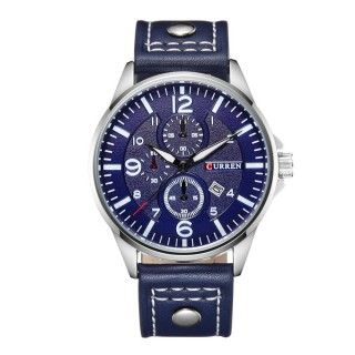 CURREN 8164 Men's Sports Waterproof Leather Strap Date Watch