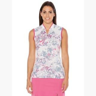 Callaway Women's Opti-Vent Sleeveless Speckle Print Mock Polo