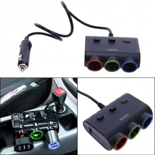 Car cigarette lighter with a three-car charger with dual USB socket car cha