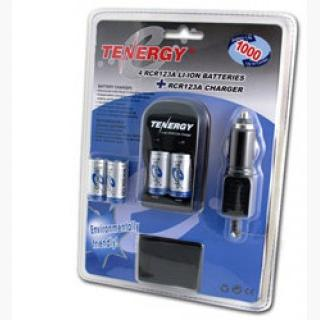 Card: Tenergy 4 Pcs RCR123A 3.0V 900mAh Rechargeable Li-Ion Protected Batteries w/ Smart Charger