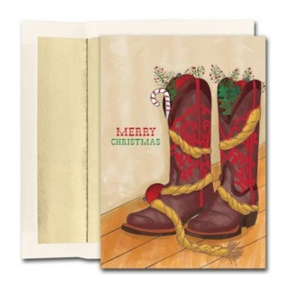 Christmas Boots Holiday Cards With Gold Foil Lined Envelopes - 108 Pack UK