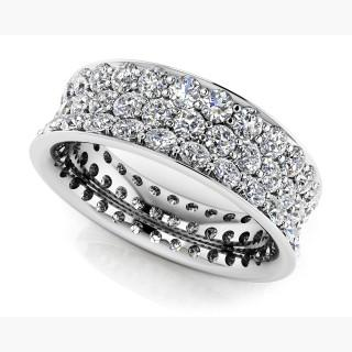 Concave 3 Row Diamond Eternity Ring