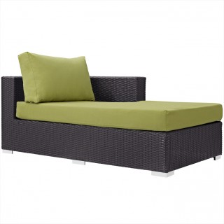 Convene Outdoor Patio Fabric Right Arm Chaise in Espresso Peridot