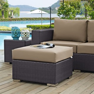 Convene Outdoor Patio Fabric Square Ottoman in Espresso Mocha