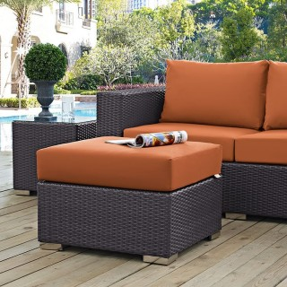 Convene Outdoor Patio Fabric Square Ottoman in Espresso Orange
