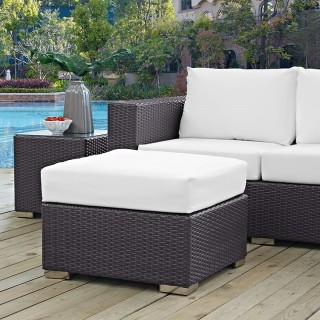 Convene Outdoor Patio Fabric Square Ottoman in Espresso White
