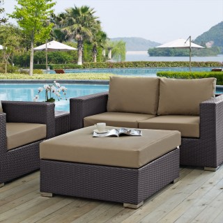 Convene Outdoor Patio Large Square Ottoman in Espresso Mocha
