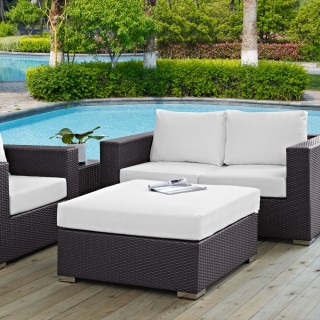Convene Outdoor Patio Large Square Ottoman in Espresso White