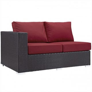 Convene Outdoor Patio Left Arm Loveseat in Espresso Red