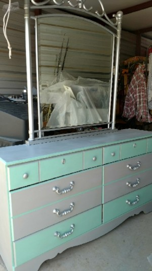 Custom, refurbished dresser w/mirror