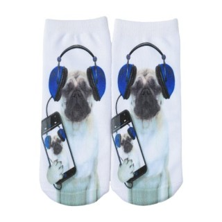 Cute Dog Print Low Cut Breathable Stretchy Casual Ankle Socks