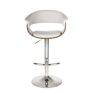 DHP Adelaide Swivel Barstool, White Faux Leather/Walnut - S006302
