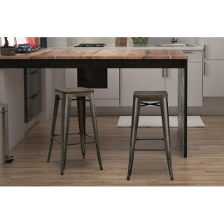 DHP Fusion 30inch Metal Backless Bar Stool with Wood Seat,Copper,Set of 2 - S003106