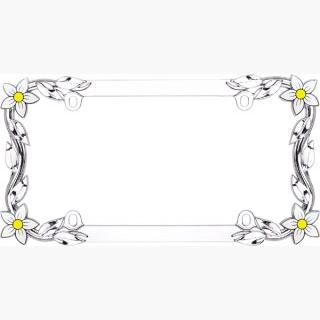 Daisy Chrome License Plate Frame