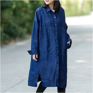 Denim Shirt Dress Denim Blue - One Size