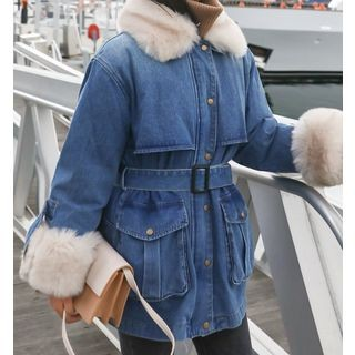 Denim Tie Waist Hooded Buttoned Denim Jacket