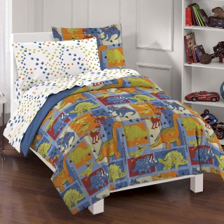 Dinosaurs Twin Bedding Set - 5pc Dino Blocks Comforter Sheets and Sham