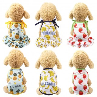 Dog Cartoon Fruit Clothes Couple Pet Dress Skirt Vest Summer Puppy Cat Clothes L