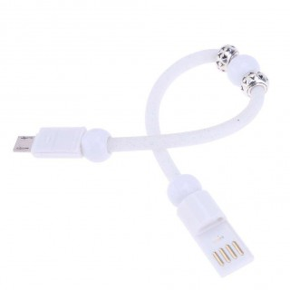 Dots Print Bead Micro USB2.0 Bracelet Charging Cable for Android(White)