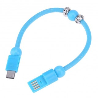 Dots Printed Bead Type-C Bracelets Charging Cable for Android(Blue)