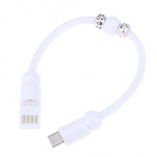 Dots Printed Bead Type-C Bracelets Charging Cable for Android(White)