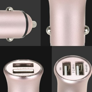 Dual Port USB Car Charger 2.4A Fast Charge Adapter Aluminum Shell for iPhone Samsung