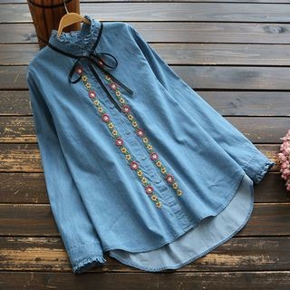 Embroidered Denim Shirt Denim Blue - One Size