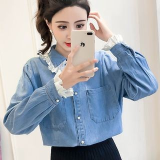 Eyelet Lace Trim Denim Shirt Denim Blue - One Size