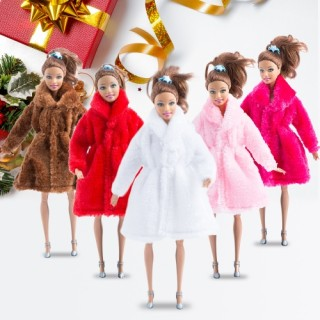 Fashion Barbie Toy Clothes Accessory Winter Plush Coat for Barbie Doll Clothes Dressing USA