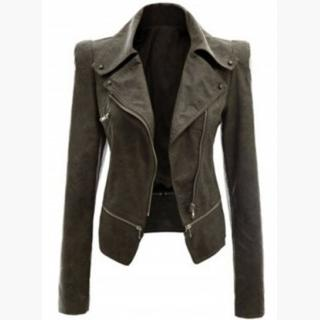 Fashion Long Sleeve PU Zip Motorcycle Jacket