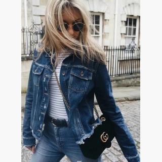 Fashion Long Sleeve Ripped Denim Jacket