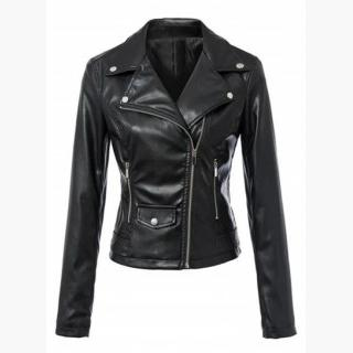 Fashion Long Sleeve Slim Fit PU Motorcycle Jacket