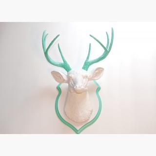 Faux Taxidermy White and Aqua Faux Deer Head- Wall Mount -Matching Shield Mount Ds0163