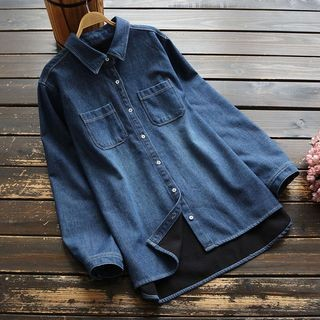 Fleece-Lined Denim Shirt Denim Blue - One Size