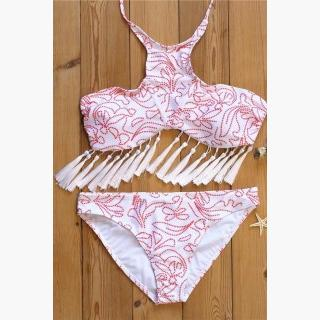 b2775b5d417f7 Buy and Sell for FREE online - iBuyWeSell | Floralkini Floral Dots Tassel  High Neck Crop Halter Bikini Set