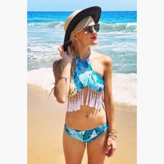 Floralkini Palm Leaf Print Tassel High Neck Crop Halter Bikini Set
