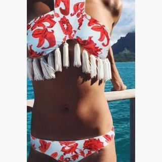 ab7e9061dae93 Floralkini Red And White Floral Print Tassel High Neck Crop Halter Bikini  Set