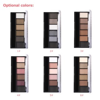 Focallure 6 Color Eyeshadow Women Cosmetic Eye Powder Palette Facial Makeup Kit With Double-end Spon
