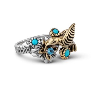 Fritz Casuse Mixed Metal Turquoise and Blue Topaz Hummingbird Ring