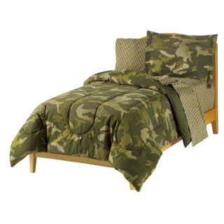 Geo Camo Full Bedding Set - 7pc Green Camoflauge Comforter Sheets