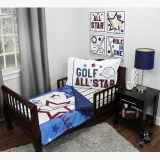 Golf Toddler Bedding Set - 3pc All Star Sports Blanket and Fitted Sheet