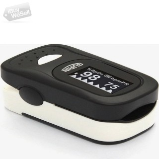 Gurin GO-410B Finger Pulse Oximeter Black & White with Alarm