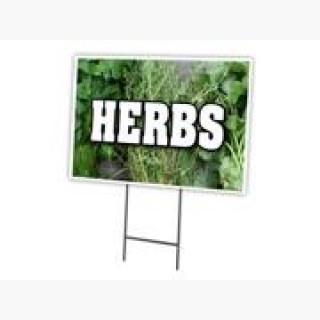 "HERBS 18""x24"" Yard Sign & Stake outdoor plastic coroplast window"